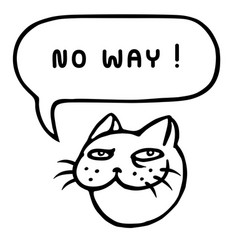 No way cartoon cat head speech bubble vector