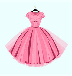 Party prom dress with fancy decor vector