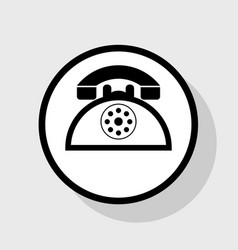 Retro telephone sign flat black icon in vector