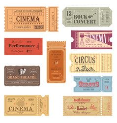 Retro tickets or old paper coupons for show vector