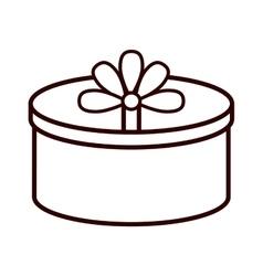Round gift box ribbon festive linear vector