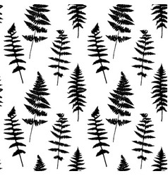 Seamless pattern with fern leaves silhouettes vector