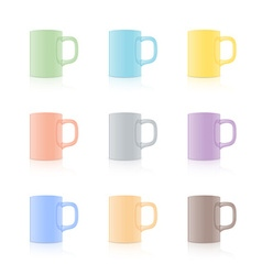 Set of realistic mug vector image