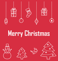 the inscription of merry christmas on a red vector image