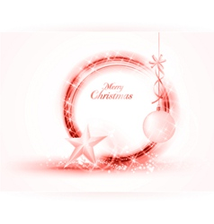 Circular red Christmas frame with star and bauble vector image