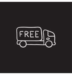 Free delivery truck sketch icon vector