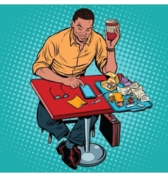 African american man eating at the restaurant vector