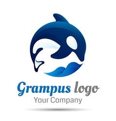 Killer whale jumping over sea wave logo design vector