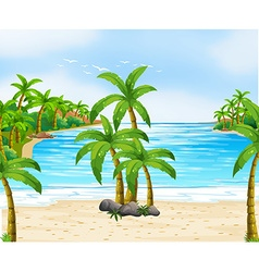 Nature scene with coconut trees on beach vector