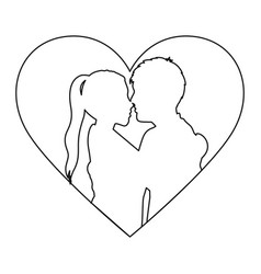 monochrome contour with heart frame and half body vector image