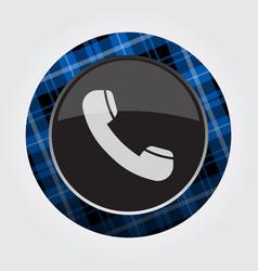 Button blue black tartan - old telephone handset vector