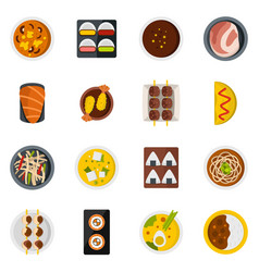 Japan food icons set in flat style vector