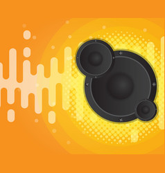 Abstract sound wave with speaker and halftone vector