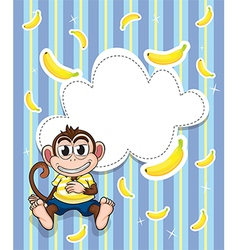 A stationery with a monkey and bananas vector