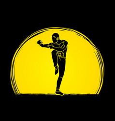 Drunken kung fu pose designed on sunlight vector