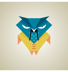 Cute little blue and yellow cartoon samurai owl vector
