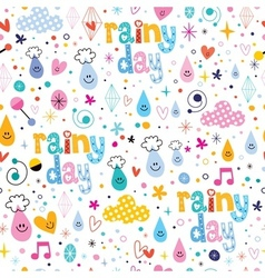 Rainy day fun characters cartoon seamless pattern vector