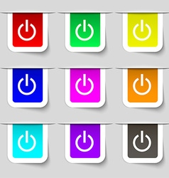 Power icon sign set of multicolored modern labels vector