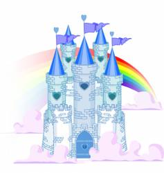 rainbow castle vector image