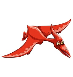 Red dinosaur flying in the sky vector