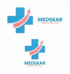 Medical logo with up arrow symbol vector