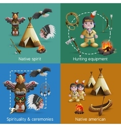 Native american design icons set vector