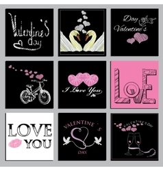 Set valentines cards vector