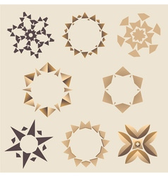 Brown elementory ornament set vector