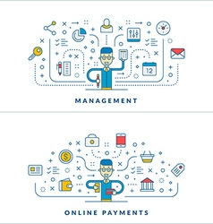Management Online payments Flat line icons and vector image