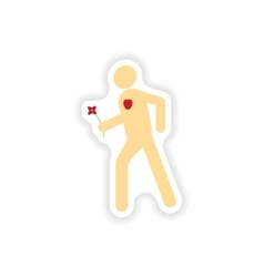 Stylish paper sticker on white background man in vector