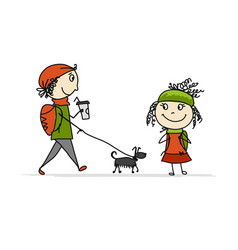 Boy and girl walking with dog sketch for your vector