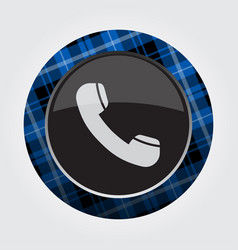 Button blue black tartan - old telephone handset vector