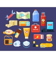 Camping emergency kit vector