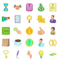 Cash consideration icons set cartoon style vector