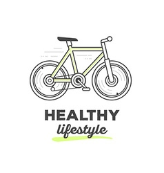 Creative sport bicycle with text on white vector