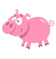 cute pig farm animal character vector image vector image