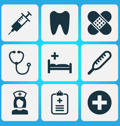 Drug icons set collection of plus injection vector