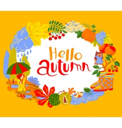 Fall season cartoon wreath with hello autumn vector image