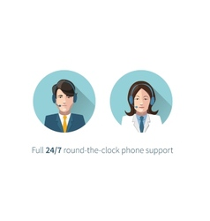 Full round-the-clock phone support icons vector image vector image