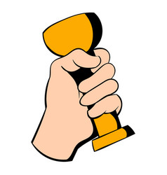 Hand holding trophy cup icon icon cartoon vector