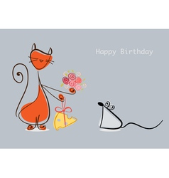 Happy Birthday Red cat congratulates mouse with vector image