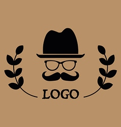 Hipster logotype man in glasses with mustache and vector image vector image