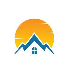 house sunset logo image vector image