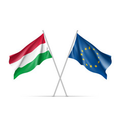 Hungary and european union waving flags vector