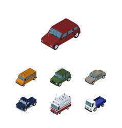 Isometric transport set of car auto autobus and vector