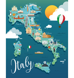 italy map with attractive landmarks vector image