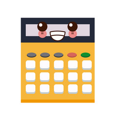 Kawaii calculator school education cartoon vector