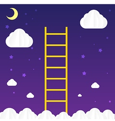 Ladder to sky with cloud and star vector image vector image