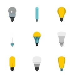 Light icons set flat style vector image