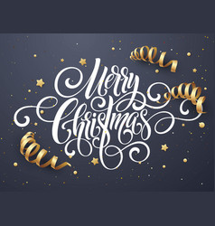merry christmas handwriting script lettering vector image